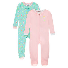 Set of 2 zipped plain-colored/printed footed sleepers
