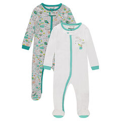 Set of 2 zipped jersey footed sleepers with prints
