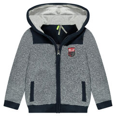 Hooded knit jacket with emblem-style badge