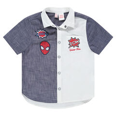 Short-sleeved two-tone shirt with embroidered ©Marvel Spiderman badges