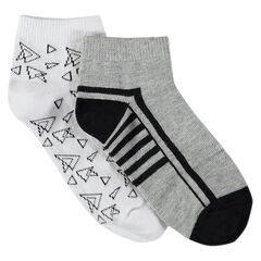 Set of 2 pairs of plain/printed short socks