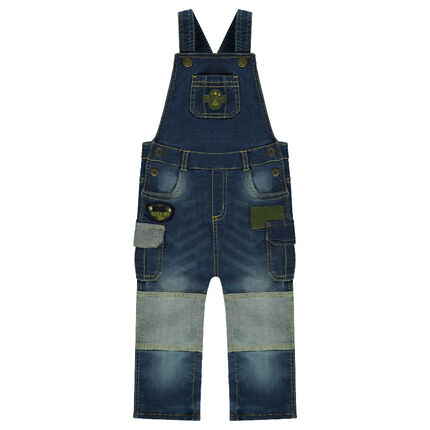 Used and crinkled-effect long overalls with pockets
