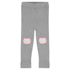 Ribbed leggings with owl-shaped patches