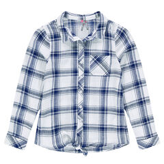 Junior - Shirt with oversized checks to be knotted in front