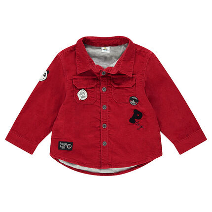 Corduroy overshirt with pocket and ©Smiley badges