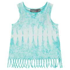 Shibori slub jersey tank top with fringes