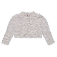 Short lurex and furry knit cardigan