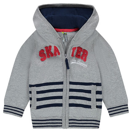 Hooded knit cardigan with French terry message and stripes