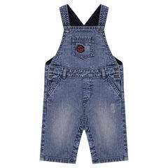 Used striped-effect short denim overalls with pocket