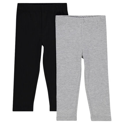 Set of 2 long, plain-colored leggings