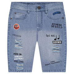 Junior - Used denim Bermudas with printed messages