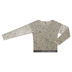Junior - Panne velvet sweatshirt with starry motif