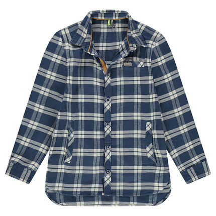 Junior - Long-sleeved contrasting check flannel shirt
