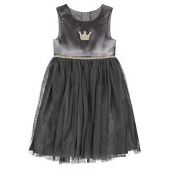 Gray sleeveless bi-material dress with an embroidered crown and golden trim