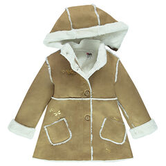 Skin-out furskin coat with removable hood and sherpa lining