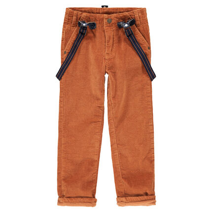 Pinstripe velvet pants with removable elastic suspenders