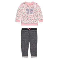 Fleece sweatsuit with allover roses and a printed butterfly