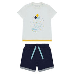 Ensemble with a tee-shirt featuring an elephant print and shorts in fine fleece