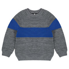 Ottoman knit sweater with contrast band