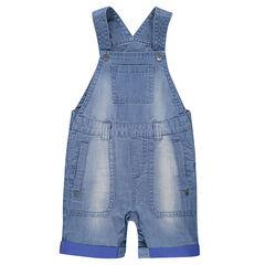 Distressed short denim overalls