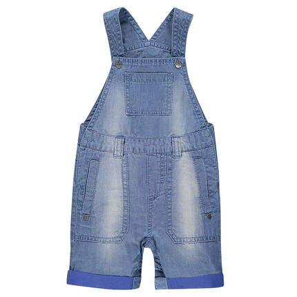 Distressed short denim overalls
