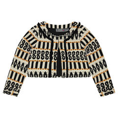 Short jacket with a jacquard motif