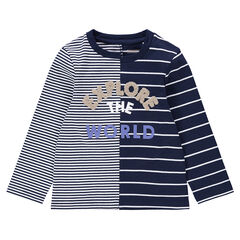 Striped long-sleeved tee-shirt with French terry message