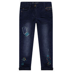 Regular fitted jeans with patches, embroidery and jersey lining