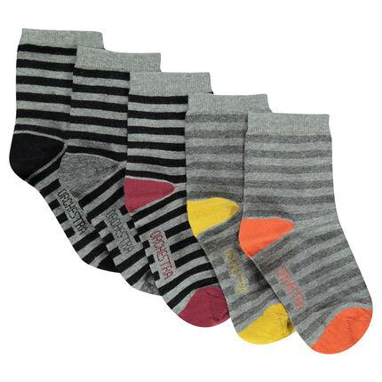 Lot de 5 paires de chaussettes rayées