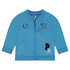 Zipped fleece jacket with embroidered badges and badge patches