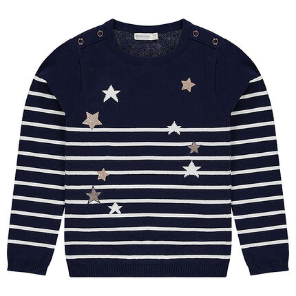 Junior - Striped knit sweater with golden stars