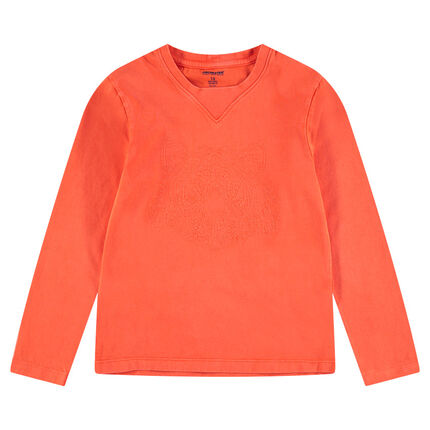 Junior - Long-sleeved jersey tee-shirt with an embroidered tiger in front