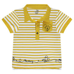 Short-sleeved striped polo shirt with a ©Disney Mickey Mouse print