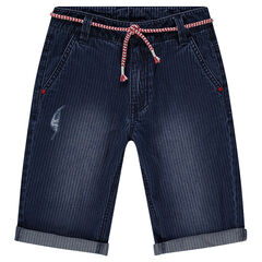 Junior - Striped denim Bermuda shorts with removable belt