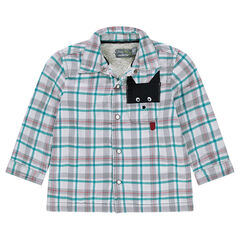 Sherpa-lined checkered flannel overshirt with pocket