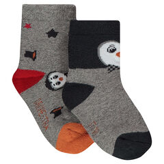 Set of 2 pairs of assorted socks with a jacquard penguin motif