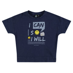 Short-sleeved tee-shirt with messages and ©Smiley badges