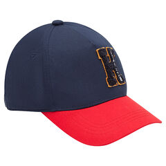 Two-tone twill cap with patched letter