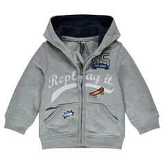 Hooded fleece jacket with printed writing
