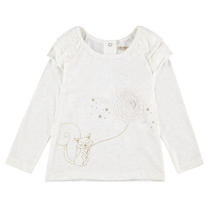 Long-sleeved jersey tee-shirt with a squirrel print