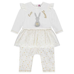 Long jersey jumpsuit with tutu effect and printed rabbit