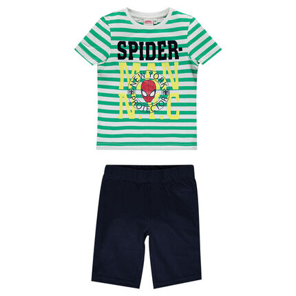 Jersey pajamas with short-sleeved, striped tee-shirt and ©Marvel Spiderman print
