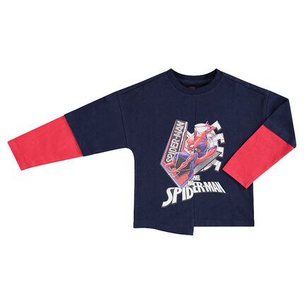 Long-sleeved 2-in-1 effect tee-shirt with ©Marvel Spiderman print