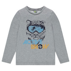 Junior - Long Sleeve T-Shirt with Printed Tiger