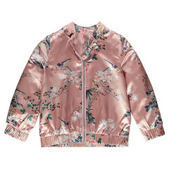 Satiny flower print bomber jacket