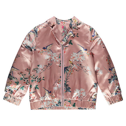 Satiny flower print bomber jacket