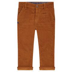 Pinstripe velvet pants