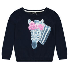 Long-sleeved sweater with decorative print