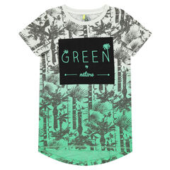 Junior - Short-sleeved, tie-and-dye-effect tee-shirt with printed palm trees