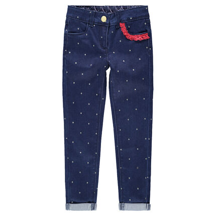 Allover polka dot print slim-fit jeans with contrasting fringes